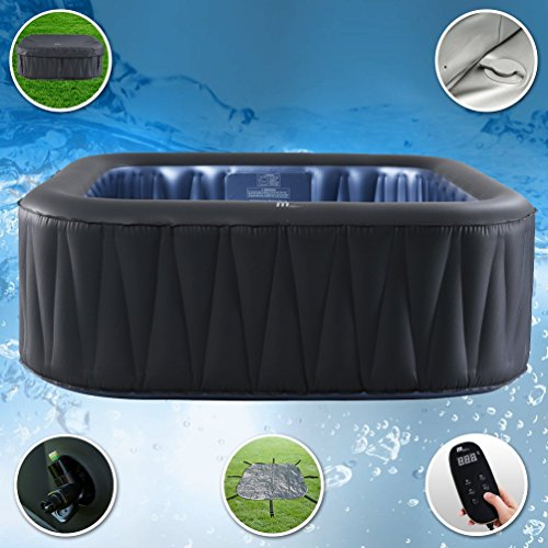 (M-SPA MSPA Tekapo Relaxation and Hydrotherapy 6 Person Square Portable Inflatable Hot Tub Bubble D-TE06 (Latest 2018 Model))