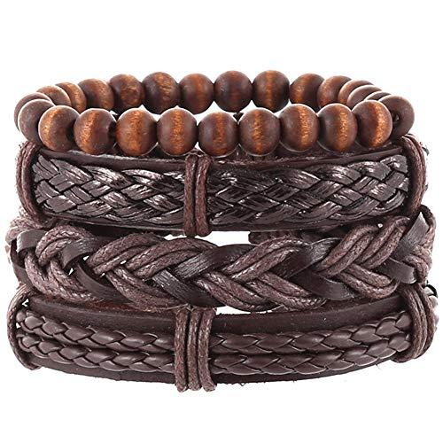 Multi PCS Mixed Wrap Leather Wristbands Bracelets and Wood Beads Weave Bracelet Set for Men Women Adjustable Beads Braided Leather Friendship Charm Bracelet for Men