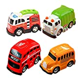 UiiQ Pull Back Vehicles Set Mini Car Model Friction Powered Alloy Toy Cartoon Cars with Bright Color for Boys Kids Child Party Favors - 4 Pack