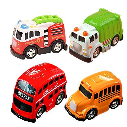 UiiQ Pull Back Vehicles Set Mini Car Model Friction Powered Alloy Toy Cartoon Cars with Bright Color for Boys Kids Child Party Favors - 4 Pack by UiiQ