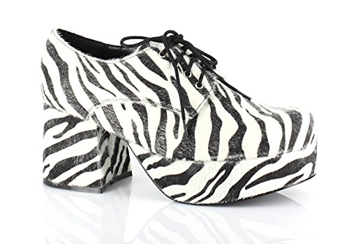Pimp Adult Costume Shoes Zebra Print - Small -