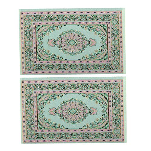 NATFUR 1/12 2Pcs Floor Covering Turkish Style Rug Embroidery Mat for Dolls House from NATFUR