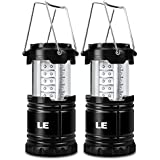 LE 2 Pack Portable Outdoor LED Camping Lantern, 30 LEDs, Battery Powered, Water Resistant, Home Garden Camping Lanterns for Hiking, Emergencies, Hurricanes (Black, Collapsible)