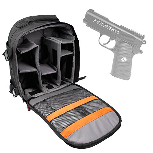 DURAGADGET Colt Defender Pistol BB Airgun Carry / Storage Bag - Premium Quality, Water-Resistant Backpack with Customizable Interior & Raincover for Colt Defender Pistol BB Airgun & Accessories (Colt Defender Pellet)
