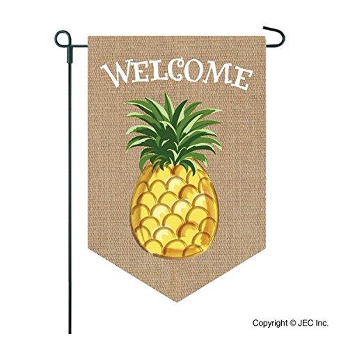 Welcome Garden Flag - Heavy Duty Burlap Pineapple Flag - 12x18 Home Garden Flag