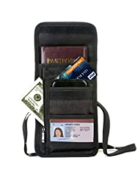 MODARANI Neck Wallet Family Documents Passport Holder Travel Wallet with RFID Blocking for Security Black