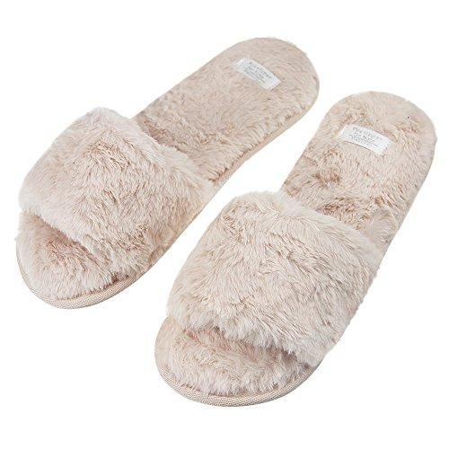 Damen Pantoffeln, Damen Süße Winter Baumwolle Hausschuhe Plüsch Wärme Weiche Kuschelige Home Rutschfeste Slippers für Damen Pink Grau