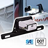 OLS LED Trailer License Plate Lights w/ Bracket [SAE/DOT Certified] [Waterproof] [Heavy Duty] License Tag Lights for Trailers, RV, Trucks & Boats - Chrome Housing