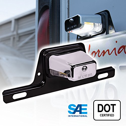 LED Trailer License Plate Lights w/Bracket [SAE/DOT Certified] [Waterproof] [Heavy Duty] License Tag Lights for Trailers, RV, Trucks & Boats - Chrome Housing