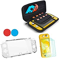 4 in 1 Kit for Nintendo Switch Lite, Accessories Set for Switch Lites, 1 x Transparent Housing, 3 x Screen Protector,1 x Carrying Case and 2 Thumb Grips