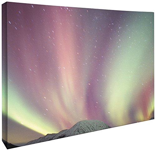 Arctic Print Canvas - JP London CNV2022 Gallery Wrap Heavyweight Beautiful Northern Lights Aurora Borealis Arctic Skyscape Canvas Art Wall Decor, 1.5' High x 2' Wide x 2