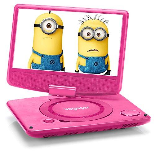 Voyager tragbarer DVD-Player 22,8 cm (9 Zoll) mit schwenkbarem Bildschirm/integriertem Akku pink