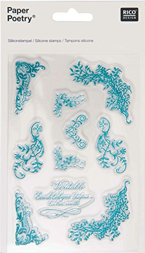(Rico Design silicone Stamps-Floral Flourishes, Petrol Blue)