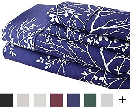 Inc Hotel 5th Ave 254-INK Foliage Printed Luxurious Microfiber Sheet Set King Ivory//Navy SPJCF Spirit Linen