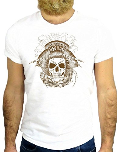 T SHIRT JODE Z2736 VINTAGER ROCK TATTO SKULL GEISHA JAPAN ROCK MANGA SAILOR GGG24 BIANCA - WHITE M