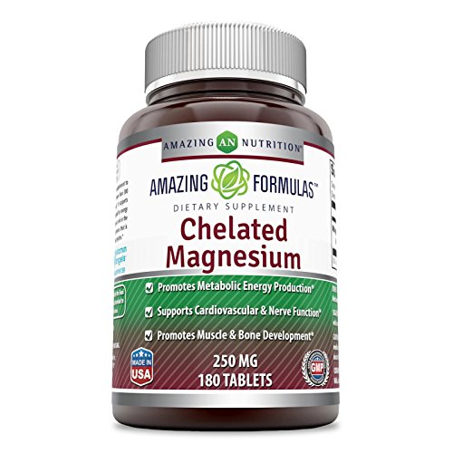 Amazing Formulas - Chelated Magnesium Dietary Supplement - 250 Milligrams - 180 Tablets - Promotes Muscle and Bone Health - Supports Metabolic Energy Production. *