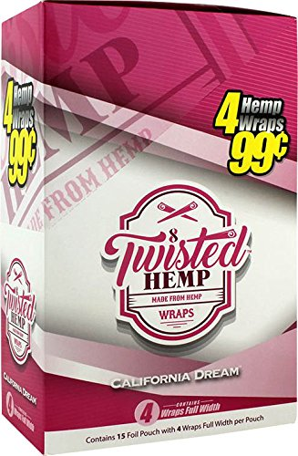 15 pk Twisted Hemp Wrap California Dream 4 leaf per pk by Twisted Hemp Wrap