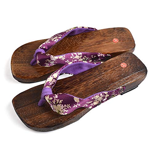 TOMORI Womens Japanese Clogs Geta Sandals Anime Cosplay Accessory Wooden Shoes for Kimono  (36, Dark Purple) from TOMORI