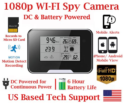1080P HD WiFi Battery Powered Weather Clock Radio Spy Camera with 10 Hour Battery Life Spy Camera Hidden Nanny Cam Spy Gadget Spy Gear by AES Spy Cameras
