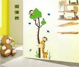 Pared Mono árbol y jirafa cinta métrica medir la altura de pared Growth Chart adhesivo decorativo Regalo para decorativo Gr, 60 * 90 cm