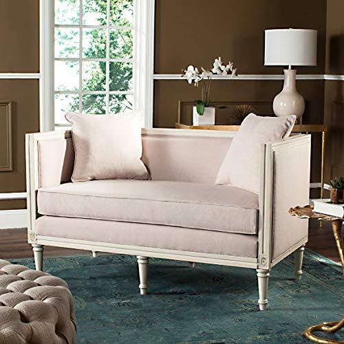 Safavieh FOX6237D Home Collection Leandra Antique Beige French Country Settee, Beige Beige