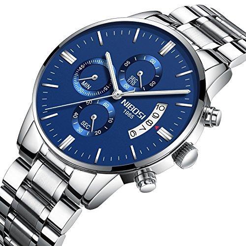 Nibosi hombre relojes cronógrafo resistente al agua de los relojes de pulsera de cuarzo de militares para hombres color azul 2309-gklmgd: Amazon.es: Relojes