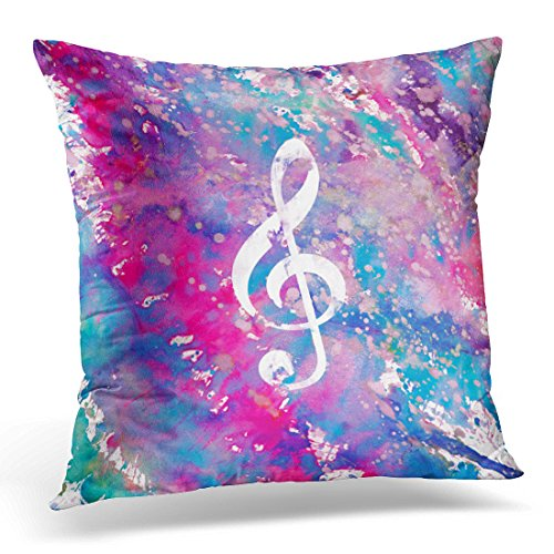 Emvency Throw Pillow Cover Teal Musical Pink Blue Watercolor Paint Music Note Treble Colorful Turquoise Decorative Pillow Case Home Decor Square 16 x 16 Inch Pillowcase