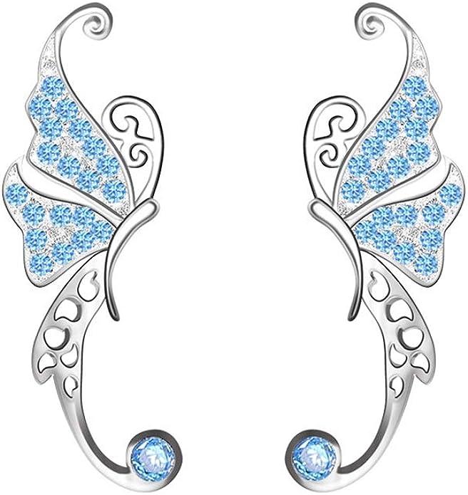 Butterfly Ear Pins Ear Crawlers 925 Sterling Silver Butterfly Ear Pins Ear Pins Ear Climber Earrings Ear Sweeps Butterfly Pins