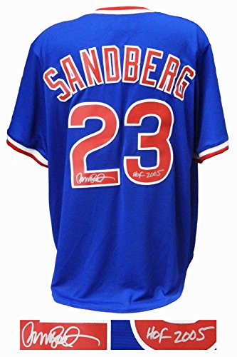 (Ryne Sandberg Signed Chicago Cubs Blue Throwback Cooperstown Collection Jersey w/HOF 2005)