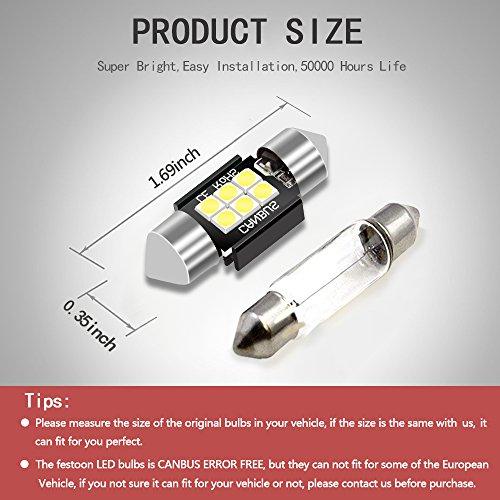 LEDKINGDOMUS 4 Pcs 36mm 1.5 Inch 6 SMD 3030 Canbus Error Free Festoon LED Bulb for Interior Car Lights Dome Map License Plate Trunk Light 6411 6413 6418 DE3423, Color White by LEDKINGDOMUS (Image #4)