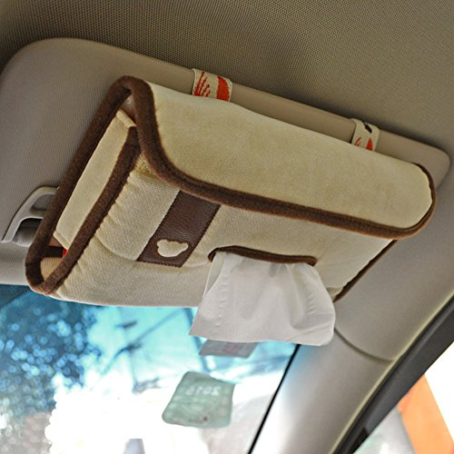 Tianmei Simple Fasion Styling Car Sun Visor Tissue Box Cover Paper Towel Box Holder (Flannelette - Beige Color)