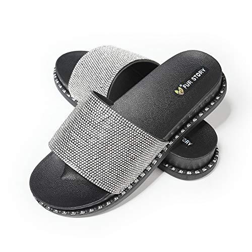 Fur Story Women's Slides Rhinestone Glitter Platform Sandals(9,Black) ()