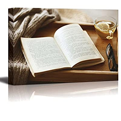 Canvas Prints Wall Art - Warm Knitted Sweater and a Book on a Wooden Tray - 16