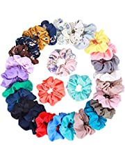 28Pcs Women's Chiffon Hair Scrunchies Elastic Hair Ties Ponytail Holders, includes 20Pcs Solid Color Chiffon Scrunchies and 8Pcs Flower Color Chiffon Scrunchies