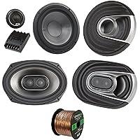 2x Polk Audio MM MM692 Series Ultra Marine Certified 6x9 3 Way Car / Boat Speakers, 2x MM6502 375W Marine 6.5 Component Speaker System, Enrock Audio 16-Gauge 50 Foot Speaker Wire