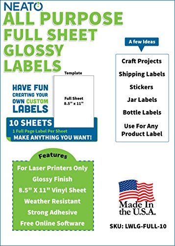 - Neato Blank White Full Sheet Printable Labels - for Laser Printers - 10 Sheets - Weather Resistant Glossy Vinyl Sticker Paper - Online Design Label Studio Included (10 Sheets)