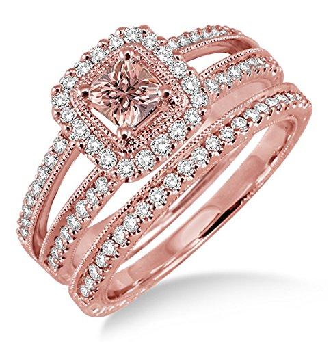 2 Carat Morganite & Diamond Antique Bridal set Halo Ring on 10k Rose Gold ()