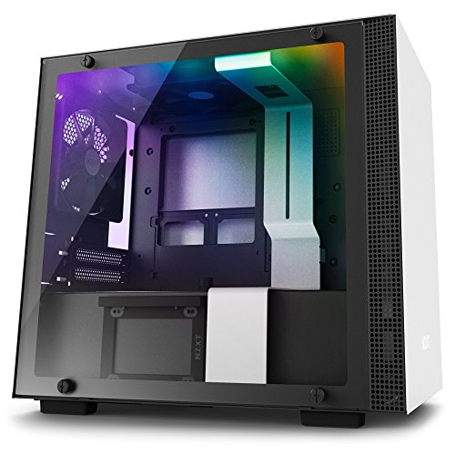 NZXT H200i - Mini-ITX PC Gaming Case - RGB Lighting and Fan Control - CAM-Powered Smart Device - Tempered Glass Panel - Enhanced Cable Management System – Water-Cooling Ready - White/Black (Picks Shell Model Medium)