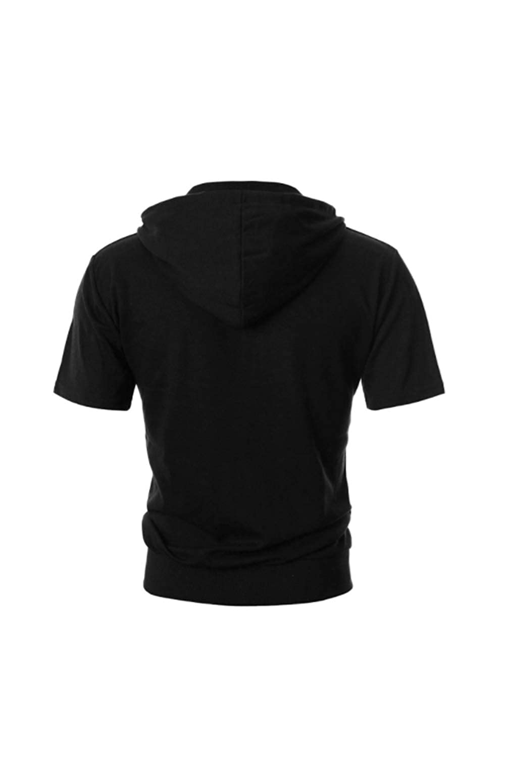 Jomuhoy Mens Hoodie Sweatshirt Short Sleeve Full-Zip Pocket Pure Tops