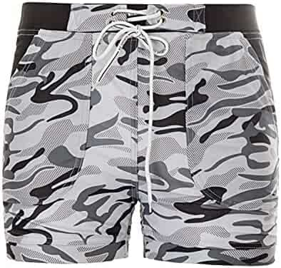 6849dc5665 Percy Perry Men's Camouflage Slim Fit Quick Dry Short Swim Trunks with  Lining and Pockets