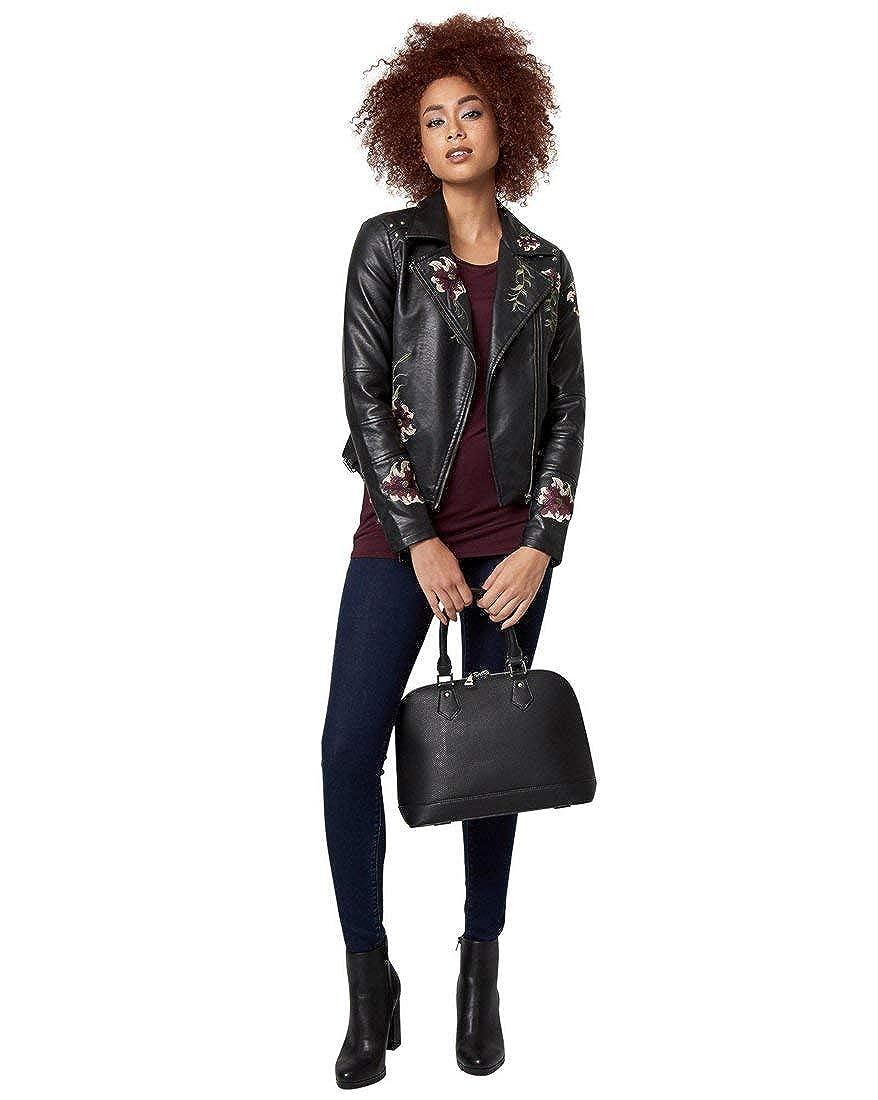 Black Multi LE CHÂTEAU Embroidered LeatherLike Jacket