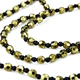 30'' Elegant Contemporary Style Black and Gold Beaded Christmas Garland Swag