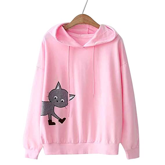 NREALY New Womens Hoodie Long Sleeve Cat Printing Hooded Round Neck Sweatshirt Blouse Tops at Amazon Womens Clothing store: