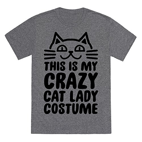 Idea Lady Crazy Cat Costume (This is my Crazy Cat Lady Costume Heathered Gray 2X Mens/Unisex Fitted Triblend Tee by)
