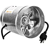 iPower 6 Inch 240 CFM Inline Duct Booster Fan Extractor Fan Dryer Vent, 5.5 Grounded Power Cord