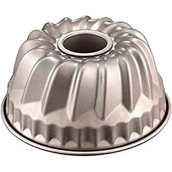 SMAZ LIFE Kitchen Baking Pan Aluminium Bundt Pan Non-stick Fluted Tube Easy Clean 9.25 x2.37 inch