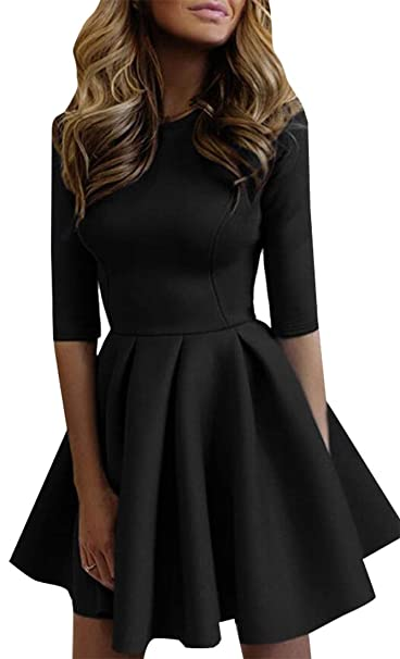 a9bc34edc M&S&W Womens Half Sleeve Swing Dress Flower Print A Line Tea Dress at  Amazon Women's Clothing store: