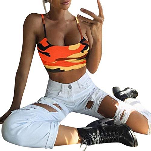 Fainosmny Womens Vest Slim Tank Tops Sexy Sling Crop Tops Camouflage Camisole Sleeveless Bra Vest Basic Blouse T-Shirt by Fainosmny (Image #1)