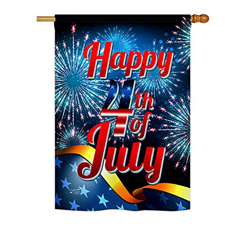 Angeleno Heritage - Happy 4th of July Americana - Seasonal Fourth of July Impressions Decorative Vertical House Flag 28