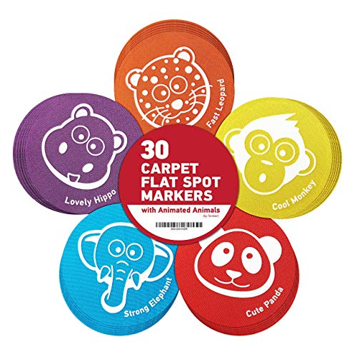 """Carpet Spots for Classroom - Spot Markers for Kids - Circle Time Spots - Carpet Circles for Classroom - Floor Dots for Kids - Great Alternative to Traditional Classroom Area Rugs - 30 Pack, Size 5"""""""